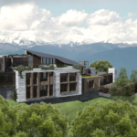 The resort and the view over the Caucasus